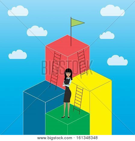 Business Growth or career laddercartoon businesswoman stock vector illustration