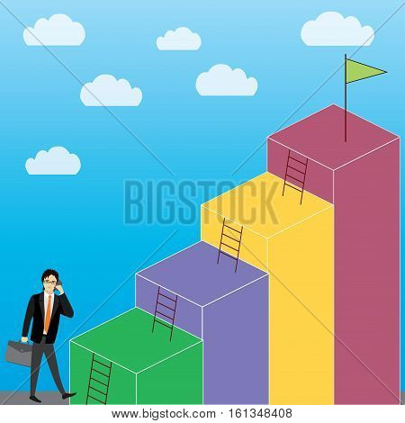 Business Growth or career laddercartoon businessman stock vector illustration