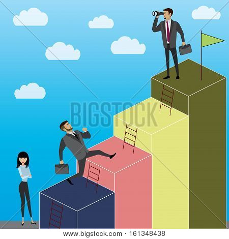 Business Growth or career laddercartoon businessman and businesswoman stock vector illustration.
