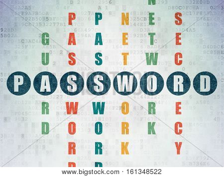 Protection concept: Painted blue word Password in solving Crossword Puzzle on Digital Data Paper background