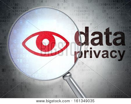 Privacy concept: magnifying optical glass with Eye icon and Data Privacy word on digital background, 3D rendering