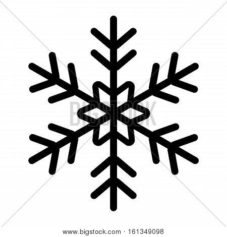 icon snowflake black on white background. Vector illustration. Holiday