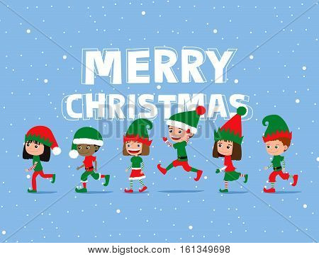 Christmas children. Cute cartoon kids wearing elf costumes. Greeting card.