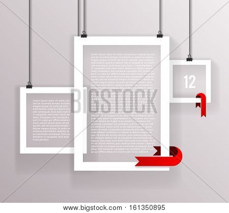 Frames Paper Big Little Realistic Text Poster Icon Set Template Transperent Background Mock Up Vector Illustration