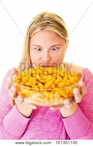 Elated Woman With Large Bowl Of Unhealthy Crisps