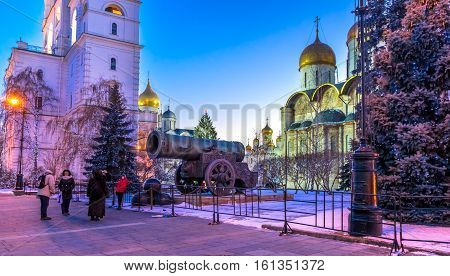 In the Moscow Kremlin near the Tsar Cannon before Christmas