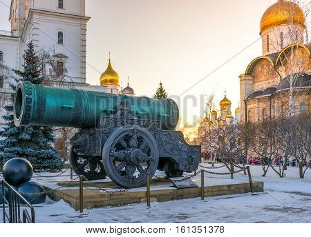Tsar Cannon in the Moscow Kremlin before Christmas