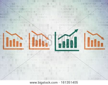 Business concept: row of Painted orange decline graph icons around green growth graph icon on Digital Data Paper background