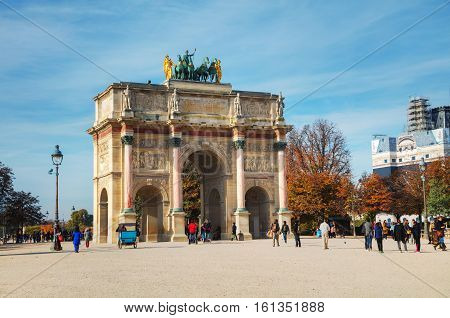 PARIS - NOVEMBER 1: Arc de Triomphe du Carrousel on November 1 2016 in Paris France. It's triumphal arch at the Place du Carrousel built in 1806-1808 to commemorate Napoleon's military victories