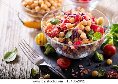 Healthy homemade chickpea and veggies salad diet vegetarian vegan food vitamin snack