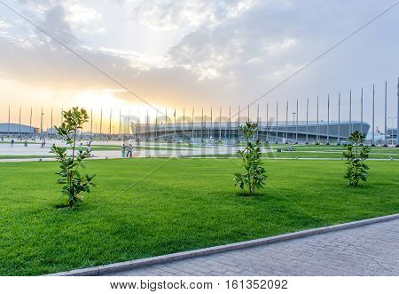 Russia Sochi - July 13 2014. Olympic Park in Adler at sunset