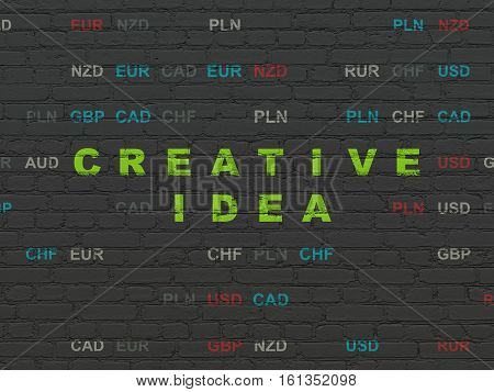 Finance concept: Painted green text Creative Idea on Black Brick wall background with Currency