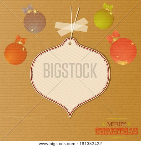 Merry Christmas Brown Paper Background with Baubles Text and Blank Tag Hanging with tape for Your Messages