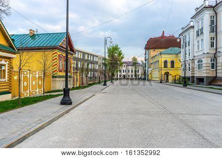 Beautiful street  in Old-Tatar Sloboda in Kazan Russia.