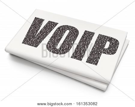 Web design concept: Pixelated black text VOIP on Blank Newspaper background, 3D rendering