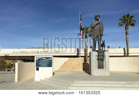 CHIRIACO SUMMIT CA - DECEMBER 10 2016: General Patton Memorial Museum. Statue of the General in front of the Museum in his honor near the site of the Desert Training Center.