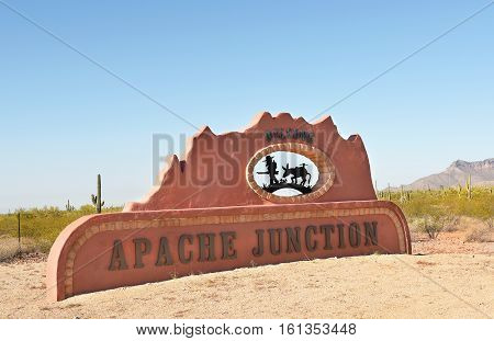 APACHE JUNCTION AZ - DECEMBER 8 2016: Welcome Sign. The sign welcomes visitors to the town at the foot of the Superstition Mountains on Route 88.