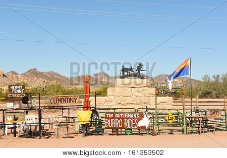 APACHE JUNCTION AZ - DECEMBER 8 2016: Superstition Mountain Museum Burro Ride Corral. The 15-acre site has many tourist attractions and activities.
