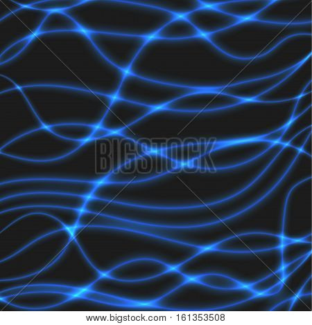 Overlaying semitransparent curved lines forming an abstract wavy pattern with light effects. Blue neon color on a dark background.