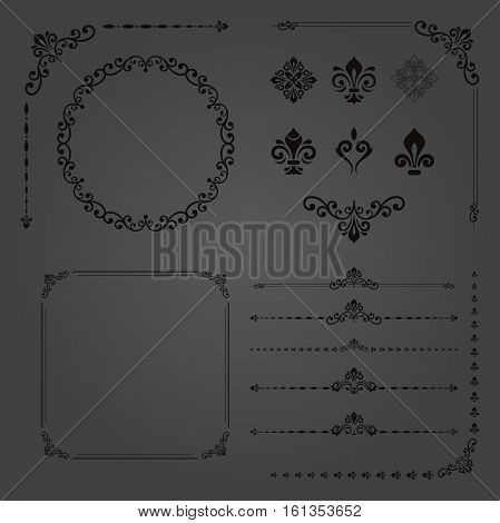 Vintage set of classic elements. Different vector elements for decoration and design frames, cards, menus, backgrounds and monograms. Classic dark patterns. Set of vintage patterns