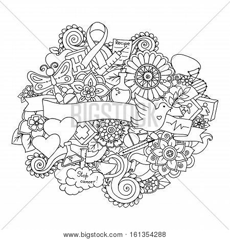Global collaboration breast cancer awareness month black and white doodle illustration. Medical Background with ribbon, dove, women and men icons, heart, abstract breast, medicine bottle and pills.