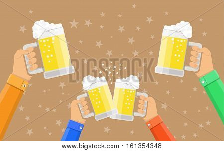 people holding beer glasses and clinking, celebration event, vector illustration in flat style