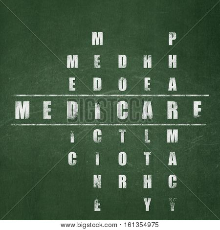 Medicine concept: Painted White word Medicare in solving Crossword Puzzle on School board background, School Board