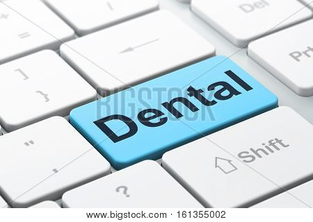 Health concept: computer keyboard with word Dental, selected focus on enter button background, 3D rendering