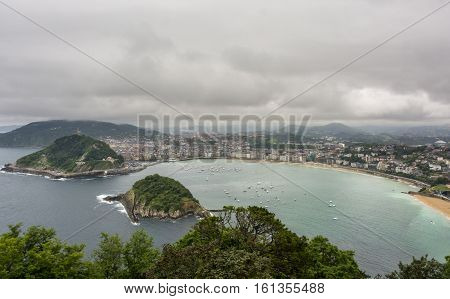 Overview of the Bay of la Concha in San Sebastian, Spain. Cloudscape view HDR image