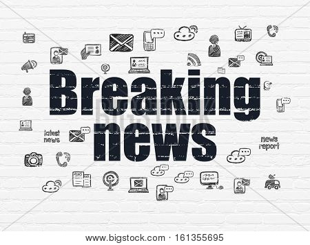 News concept: Painted black text Breaking News on White Brick wall background with  Hand Drawn News Icons