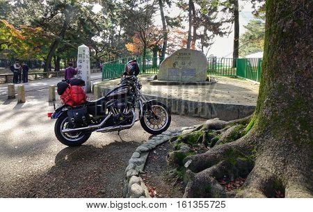Motorcycle At The Park In Nara, Japan