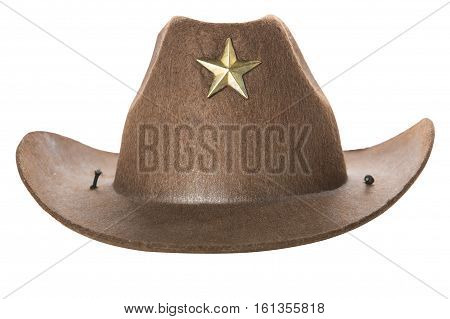 The cowboy's hat on a white background