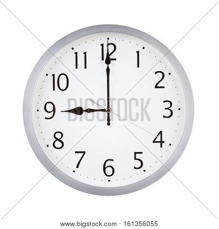 Nine o'clock on the round clock dial