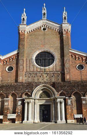 facade of basilica di San Giovanni e Paolo, known in Venetian as San Zanipolo, is a church in the Castello sestiere, Venice