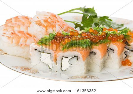 Sushi and tiger shrimps on a white background