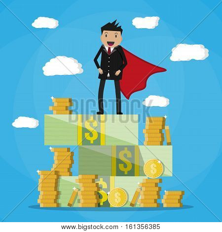 Happy super businessman standing on huge pile of money. Stacked dollar bills and coins. vector illustration in flat style on green background