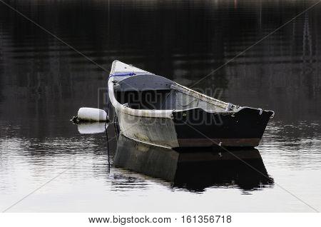 Old skiff bobbing at mooring on calm afternoon