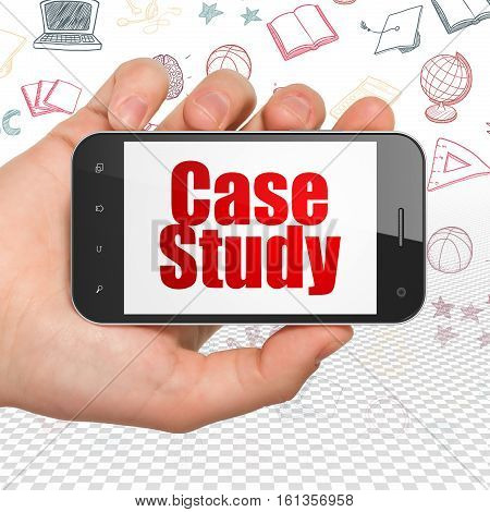 Studying concept: Hand Holding Smartphone with  red text Case Study on display,  Hand Drawn Education Icons background, 3D rendering