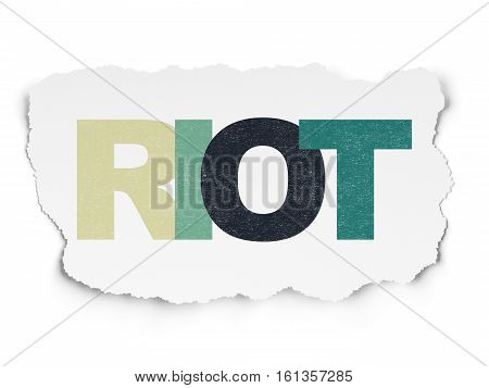 Politics concept: Painted multicolor text Riot on Torn Paper background