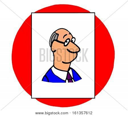 Color business illustration of smiling, baby boomer businessman.