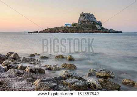 Little island Kastri near Kos island in the soft morning light, Dodecanese, Greece