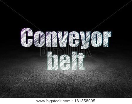 Manufacuring concept: Glowing text Conveyor Belt in grunge dark room with Dirty Floor, black background