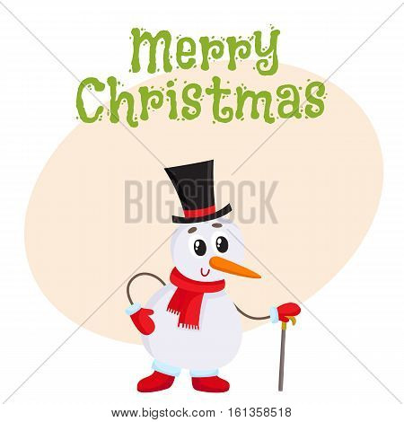Merry Christmas greeting card template with Cute and funny little snowman in cylinder hat leaning on a cane, present, cartoon vector illustration isolated on white background. Christmas poster, banner, postcard, greeting card design
