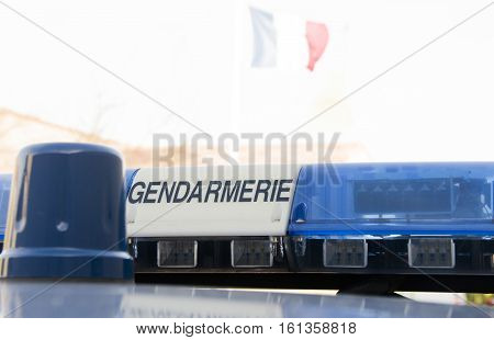 rotating beacon on gendarmerie vehicle french police