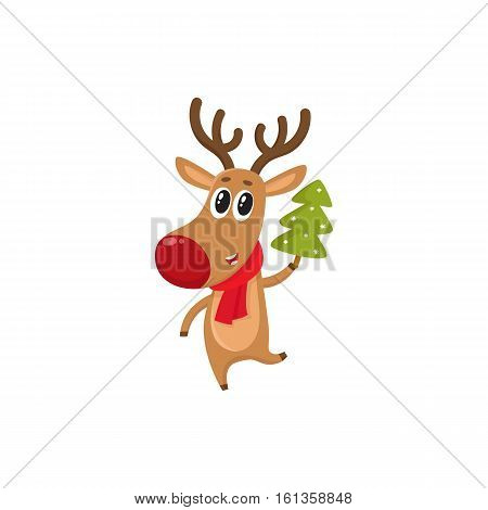 Funny reindeer in red scarf holding a Christmas tree, cartoon vector illustration isolated on white background. Red nosed deer in red scarf with Christmas tree, holiday decoration element