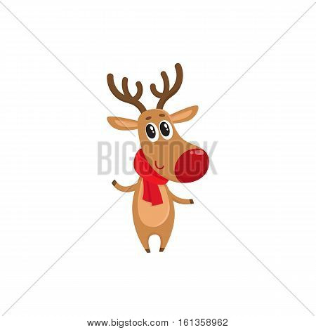 Christmas reindeer in red scarf, cartoon vector illustration isolated on white background. Christmas red nosed deer, holiday decoration element