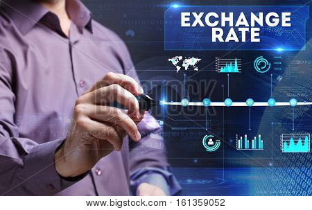 Technology, Internet, Business And Marketing. Young Business Person Sees The Word: Exchange Rate