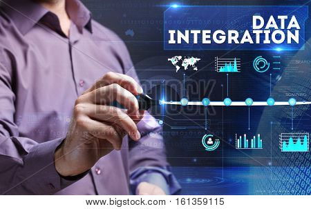 Technology, Internet, Business And Marketing. Young Business Person Sees The Word: Data Integration