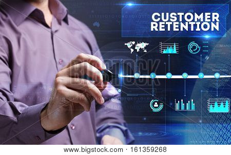 Technology, Internet, Business And Marketing. Young Business Person Sees The Word: Customer Retentio