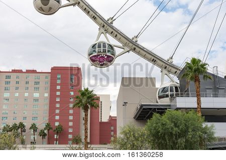 Las Vegas USA - October 28 2016: The 520-foot diameter High Roller is the world's largest observation wheel and a dominant landmark in Las Vegas.